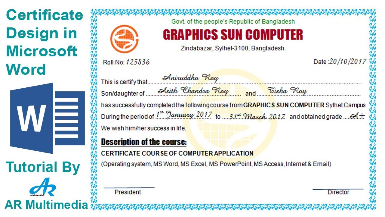 How to Create Professional Certificate in Word 2010Certificate Design in Microsoft word 2013