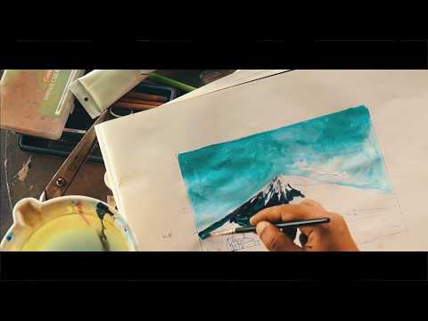 PAINTING TUTORIAL ACRYLIC FOR BEGINNERS MT.FUJI JAPAN || EASY PAINTING TUTORIAL
