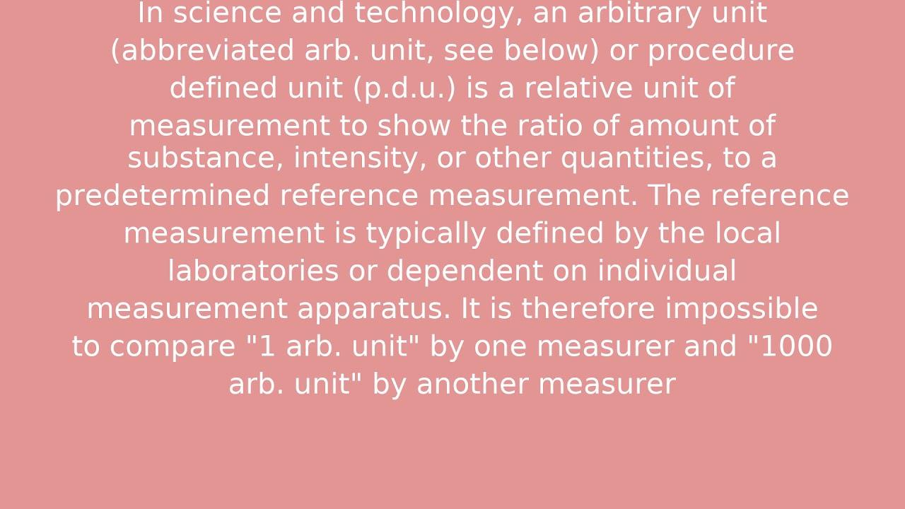 Arbitrary unit - YouTube