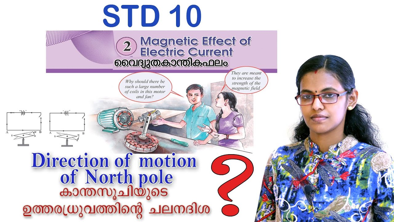 SSLC Physics// Magnetic Effect of Electric Current// Direction of motion of North pole //Malayalam