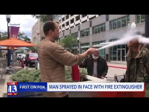 Deej - Store Owner Sprays Fire Extinguisher at Man Smoking