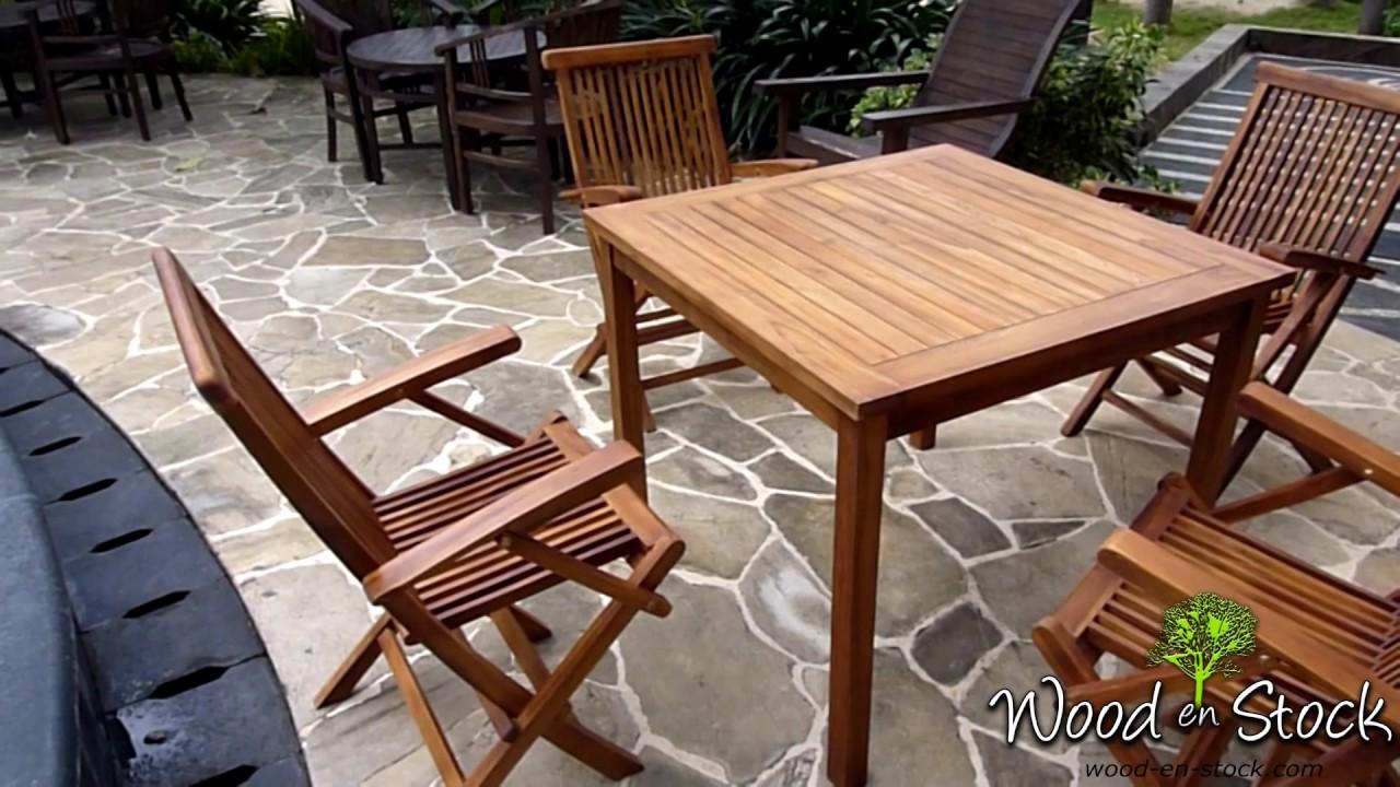 salon de jardin en teck table carrée 90 cm - YouTube