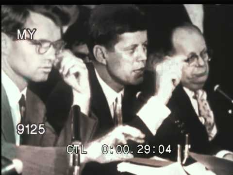 1957 John F. Kennedy Questions Jimmy Hoffa