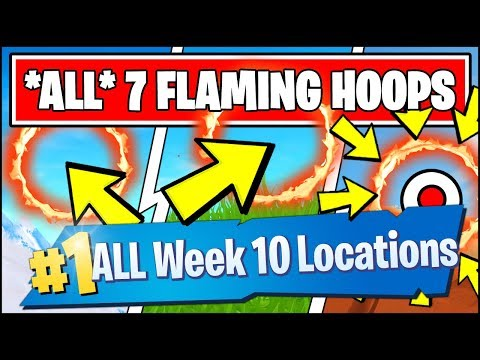 LAUNCH THROUGH FLAMING HOOPS WITH A CANNON *ALL LOCATIONS* (Fortnite Season 8 Week 10 Challenges)