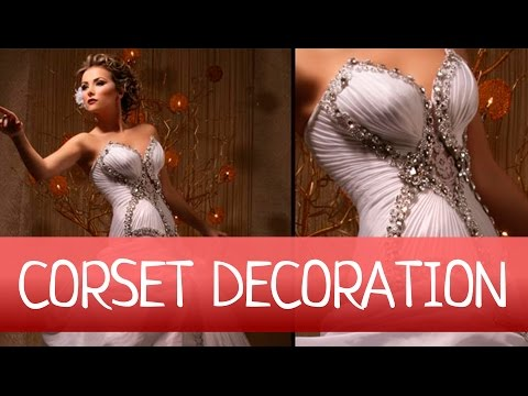 How to EASY decorate WEDDING or EVENING GOWN with DRAPERY? Fan folded drapery.