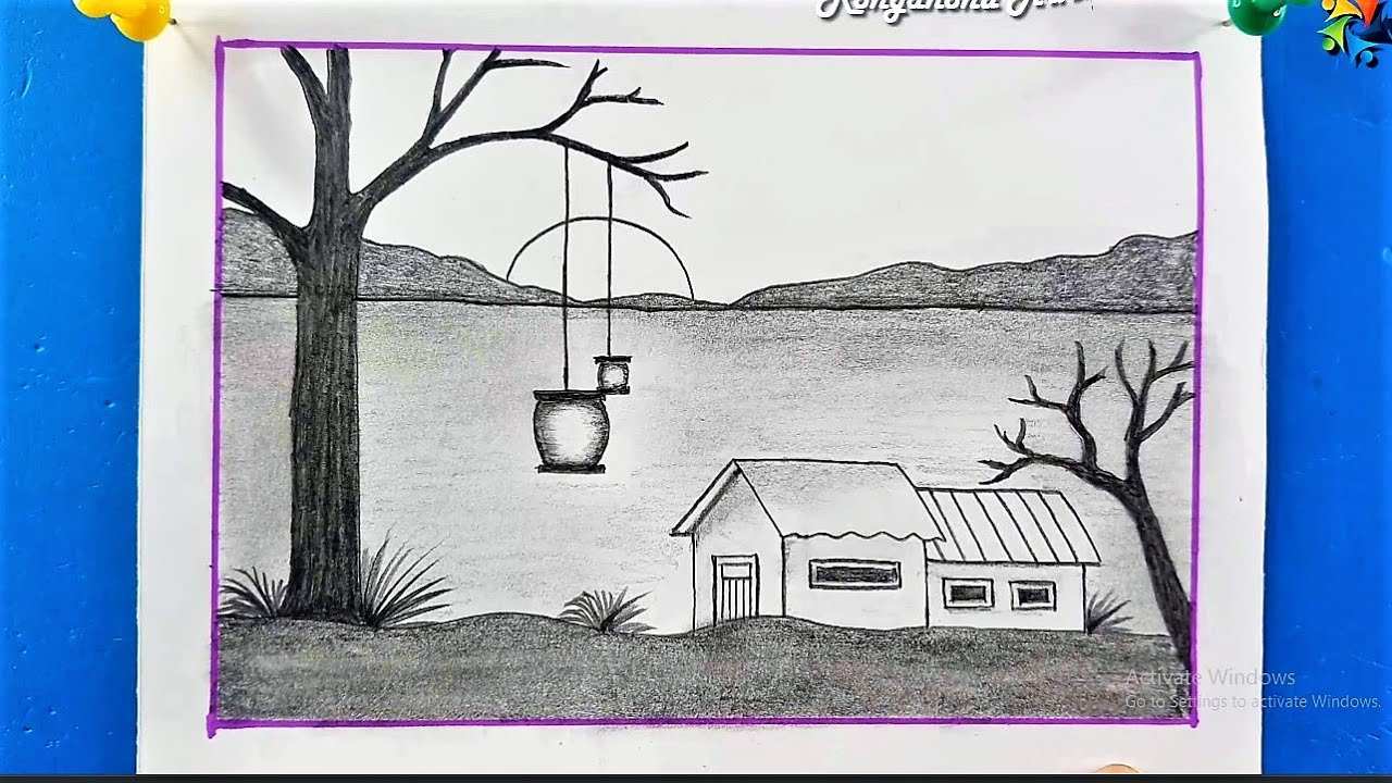 How to Draw a Scenery   Easy Scenery Drawing   Pencil Drawing Tutorial