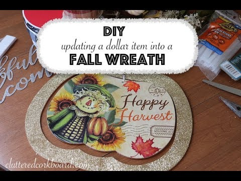 DIY Updating a Dollar Tree Item into a Wreath Option / Idea #2 // Cluttered CorkBoard