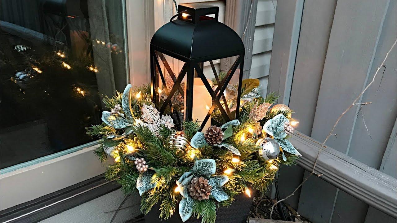 Christmas Lantern.Easy Christmas Planters Lantern Planter Floral Arrangement Outdoor Decorating