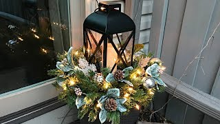 Easy Christmas Planters - Lantern Planter Floral Arrangement - Outdoor Decorating