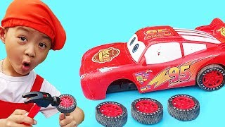 Construction Vehicle Toys Assembly Cars for Kids with Lightning McQueen, Excavator and Dump Truck