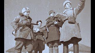 Зимний лес. Партизанский отряд Алексея Федорова громит фашистов. 1943, кинохроника, СССР