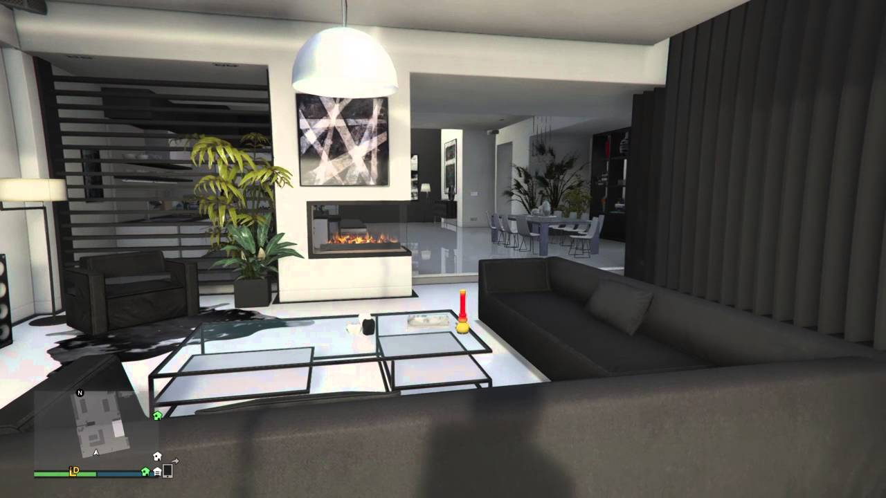 gta v online penthouse apartment designs monochrome 5 of 8 youtube. Black Bedroom Furniture Sets. Home Design Ideas