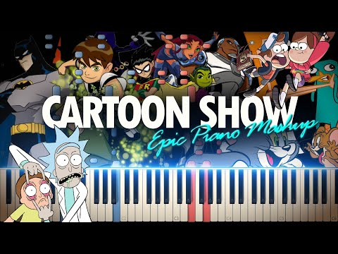 Cartoon Show Music Epic Piano Mashup/Medley (Synthesia Piano Tutorial)+SHEETS\u0026MIDI