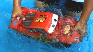 Disney Cars Toys Lightning McQueen Thomas and Friends Toy Trains  Swimming Pool Fun