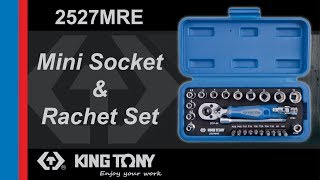 "KING TONY - 2527MRE 27 PC. 1/4""DR. 6PT Socket & Ratchet Set"