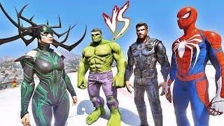 HOMEM ARANHA, THOR e HULK vs HELA - GTA V Mods EPIC BATTLE - IR GAMES