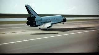 F-sim Space Shuttle Flight Simulator for iPad, iPhone landing at KSC Perfect Landing.