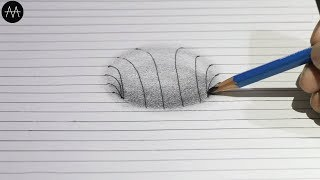 Easy !! 3d Trick Art on paper - Anamorphic Illusion