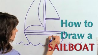 How to draw a Sail Boat - Great Artist Mom - Guided Drawing