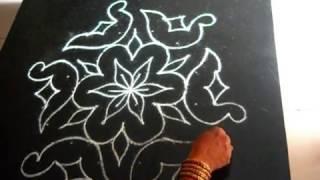 Rangoli designs - 11 to 6 dots ( birds ) for Diwali and Sankranthi