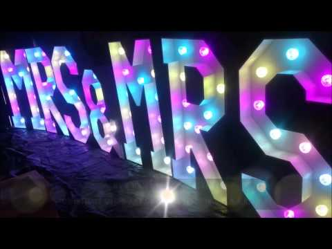 MR & MRS Light Up LED Wedding Letters Colour Changing MRS And MRS