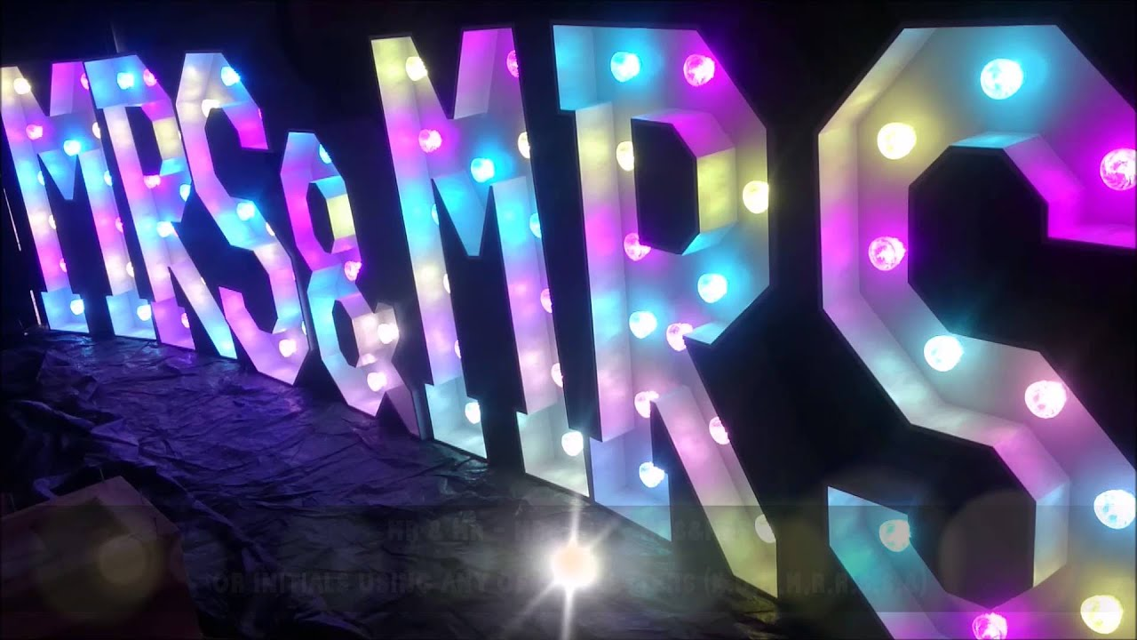 Mr Amp Mrs Light Up Led Wedding Letters Colour Changing Mrs
