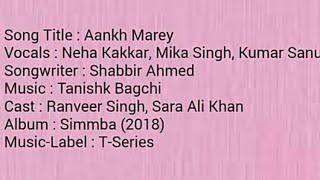 Aankh marey | Simmba | Lyrics | Nakshita World
