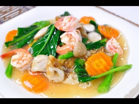 Thai Food] Sen Yai Rad Na Goong (Flat Rice Flour Noodle with Shrimp ...