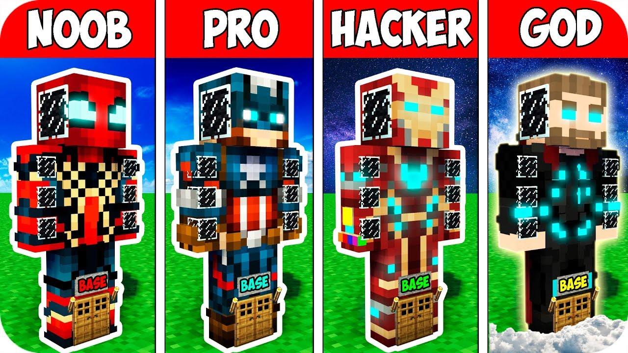Minecraft NOOB vs PRO vs HACKER vs GOD : SECRET BLOCK BASE INSIDE AVENGERS  / Minecraft Animation