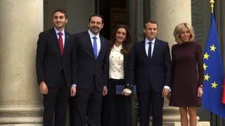 Saad Hariri and his family meet France's Macron at Elysee