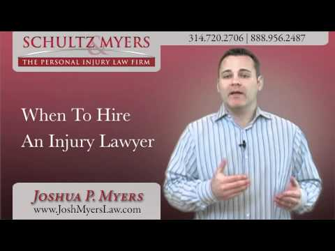 St. Louis, Missouri Personal Injury Lawyer Joshua P. Myers discusses when is the best time to hire a personal injury attorney after an injury such as a car accident. For more information, visit his personal injury website at www.JoshMyersLaw.com or call 888-956-2487 for a free case consultation.  Myers Injury Law, LLC 1033 Corporate Square Drive St. Louis, MO 63132 314-720-2706