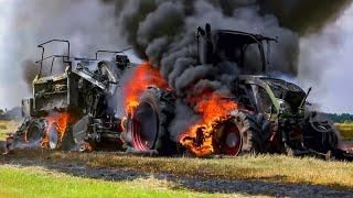 Fendt tractor met hooibouwmachine volledig uitgebrand 🚒🚜