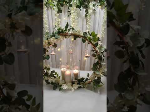 Wisteria backdrop and matching table decor