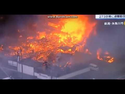 【ニュース速報大火災 更に広がる上空から】糸魚川市270世帯に避難勧告