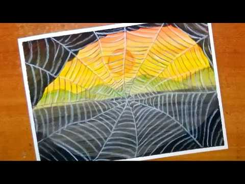How to paint easy and simple spider web | sunset scenery painting with watercolor…