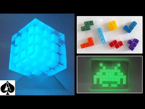 Epoxy Resin Pixel Cubes from Mini Ice Cube Mould | Tetris Fridge Magnets | Glow Cube | Space Invader