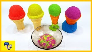 Learn Colors Kinetic Sand Play / Make Fruit Ice Cream - Cars learning videos for Kids | WeToy
