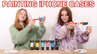 3 COLOR CUSTOM PAINTING PHONE CASES *DIY Phone Case Art Makeover Challenge | Ruby and Raylee