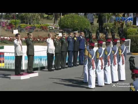"Commencement Exercises of the PMA ""Salaknib"" Class of 2017 3/12/2017: Fort General Gregorio H. Del Pilar, Baguio City March 12, 2017  President Rodrigo Roa Duterte led the commencement exercises of the Philippine Military Academy (PMA) ""Salaknib"" Class of 2017 at Fort General Gregorio H. Del Pilar in Baguio City.  In his keynote address, the President stressed that the graduation ceremonies this year is historical, for it is the first time that female cadets have occupied eight of the Top 10 spots in the graduating class, led by the 23-year old valedictorian from Cabanatuan City, former Cadet First Class now Ensign Rovi Mairel Martinez of the Philippine Navy (PN).  ""With the highest number of graduating women in PMA's history, this breakthrough is a fitting tribute to our mothers, sisters and daughters as we celebrate Women's Month,"" he said.  President Duterte also took the opportunity to thank all Filipino soldiers for their loyalty to the nation, and assured that government would reciprocate their bravery and dedication by providing them all the necessary support and incentives.  ""This administration will give you and your families the services, benefits and entitlements that you rightfully deserve,"" said the Chief Executive, adding that the armed forces would be given proper equipment and arms, particularly body armors, helmets, rifles, and short firearms, which they could utilize in defense even during off-duties.  The President said that in the next two to three years, the Armed Forces of the Philippines (AFP) would also have flight simulators, radars, support, patrol and assault vehicles.  Furthermore, a new surveillance and fighter aircraft will also be acquired for the improvement of the military's patrols in the country's boarders and seas.  ""All of these we do so that our AFP will be more effective in pursuing its mandate, in assisting law enforcement agencies in battling crime and illegal drugs and in undertaking relief and rescue efforts during disasters and calamities,"" he said.  At the end of his speech, President Duterte urged the 167 newly commissioned members of the AFP to always stay true to their class name and defend the country with honor and might.  ""I have no doubt that you will do this because you are the cream of crop.  You belong to a batch who have successfully hurdled the rigors of the PMA from over 22,000 applicants,"" he ended.  ""Salaknib"" is the Ilocano term for ""shield"", and stands for Sanggalang ay Lakas at Buhay Para sa Kalayaan Ng Inang Bayan.   This year's commencement exercises marked the President's first attendance as President of the Philippines and Commander-in-Chief of the armed forces.  *  * *  Connect with RTVM  Website: http://rtvm.gov.ph Facebook: www.facebook.com/presidentialcom Twitter: @RTVMalacanang Google+: google.com/+RTVMalacanang Instagram: @RTVMalacanang"