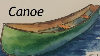 How to paint a wooden canoe in watercolor boat tutorial watercolour