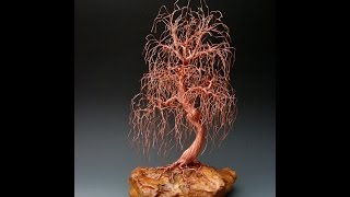 weeping willow wire tree sculpture - 1941 by metal artist Omer Huremovic