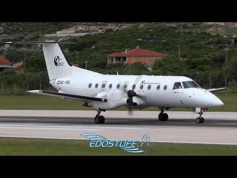 STRONG! Crosswind Takeoff - Trade Air Embraer EMB-120RT Brasilia - Split Airport LDSP/SPU