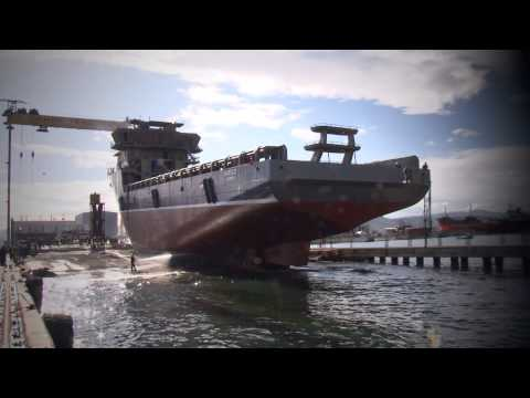 Cemre Shipyard NB113 Makalu Launching (Havyard) Global Offshore (Garware) 130209