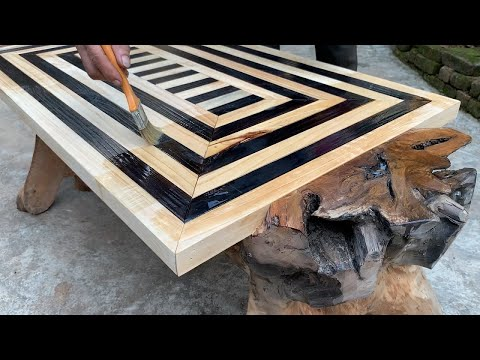 Ingenious And Creative Wood Recycling Projects From Tree Stump // Build A Table Unique And Classic