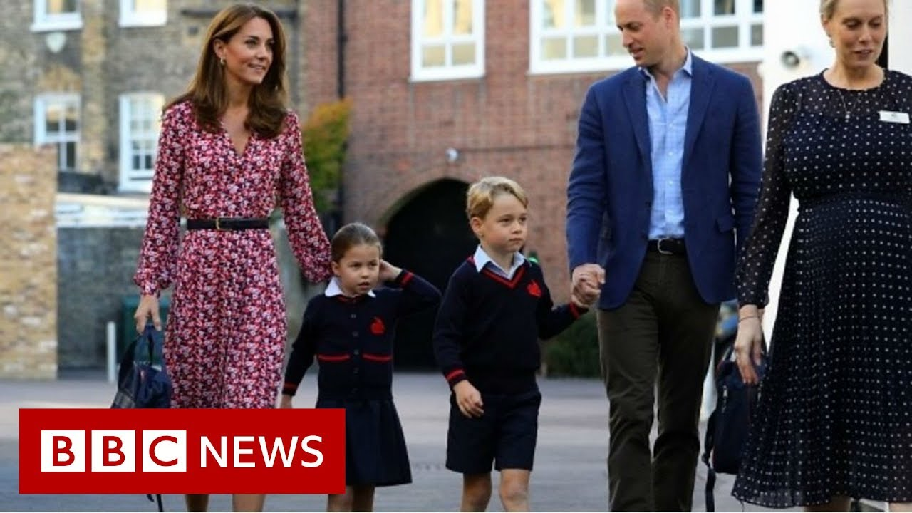Princess Charlotte arrives for first day at school - BBC News