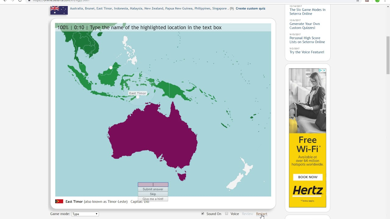 Australia Map Quiz Online.Australia Surrounding Countries 18s