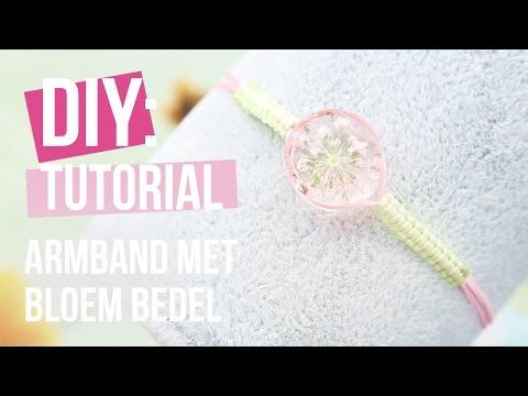 Sieraden maken: Macramé armband van bedel met gedroogde bloemetjes ♡ DIY