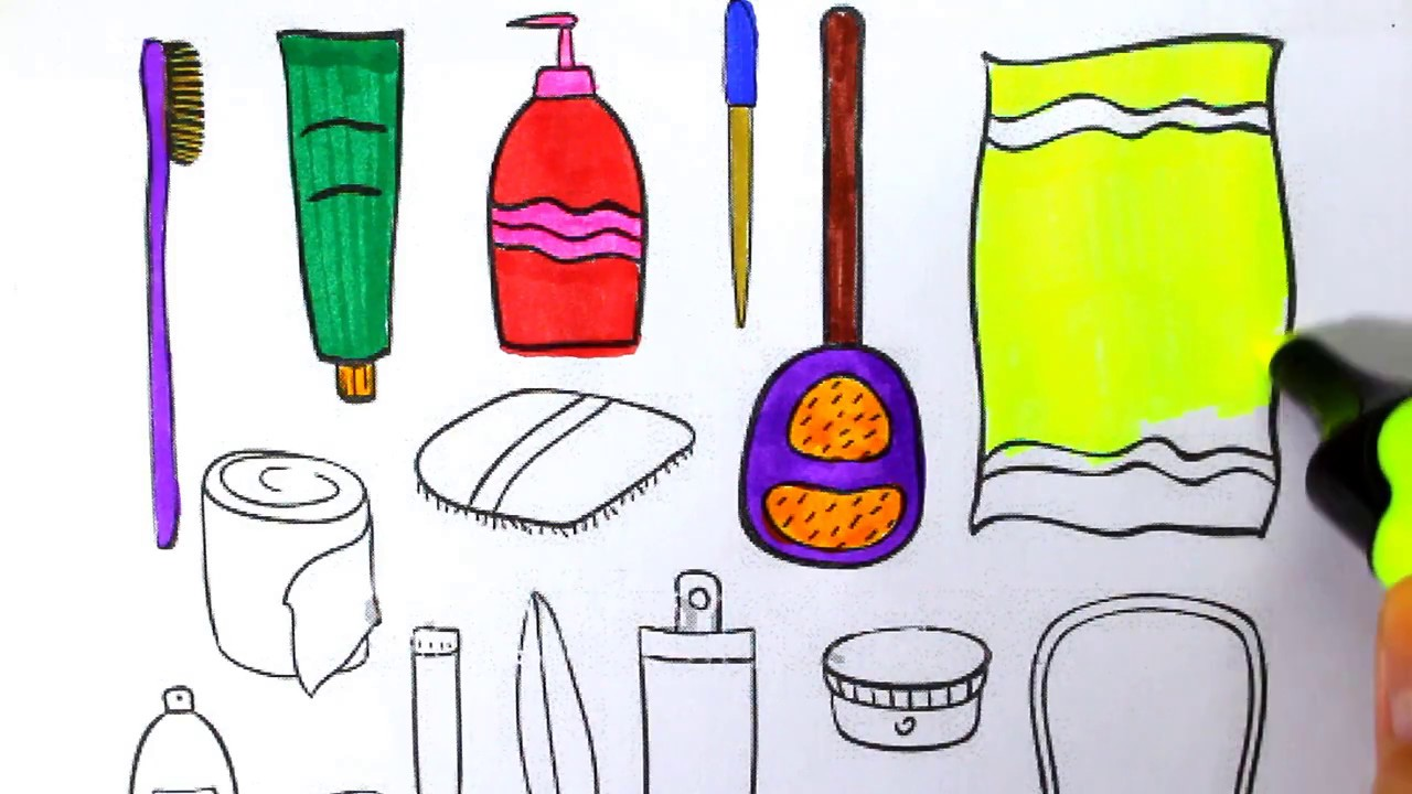 How To Draw Toilet Bathroom Tools