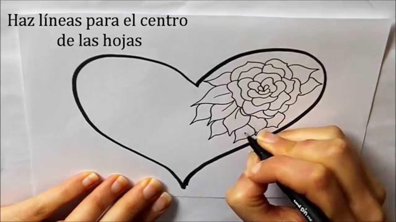 Cómo dibujar un Corazón con una Rosa Dibuja Conmigo Dibujos de Amor ...