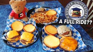 Full Ride Double Cheeseburger Challenge at Texas Burger University!!